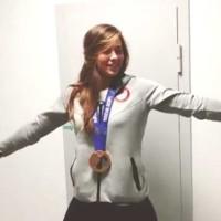 **Warning: White Girl Twerking (VIDEO) Olympian Kate Hansen Celebrates with Teammate's Medal
